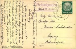 """1934, Posthilfsstellenstempel """"Bebenhausen über Tübingen"""" - Allemagne"""