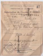 AUTORISATION TEMPORAIRE DE CIRCULER--Préfecture De La Gironde(Bordeaux) Peugeot 8 Cv A Gaz--1946 - Documents