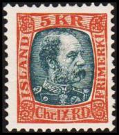 1904. King Christian IX. 5 Kr. Redbrown/grey. Only 17.200 Issued. (Michel: 47) - JF191409 - Oblitérés