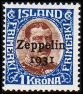 1931. Air Mail. Zeppelin. 1 Kr. Brown/blue King Christian X. Only 60.000 Issued. (Michel: 148) - JF191430 - Airmail