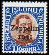 1931. Air Mail. Zeppelin. 1 Kr. Brown/blue King Christian X. Only 60.000 Issued. (Michel: 148) - JF191429 - Poste Aérienne
