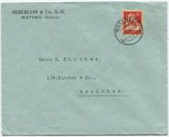 731 - Perfin Beleg Von Heberlein & Co. Wattwil