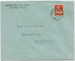 731 - Perfin Beleg Der Firma Heberlein & Co. Wattwil - Suisse