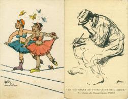 Lot De 2 Cpa  Camp De Bar Le Duc  Le Vêtement Du Prisonnier De Guerre   Illustrateur Hardy  Forain Fantaisies - Humoristiques