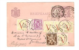 Entier Hollandais C.Vlissingen 1896 Réutilisé En 1945 Avec TP 670(5)-677A-422 C.Oostende V.Gand PR2590 - Bélgica