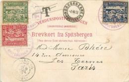 NORVEGE - SPITSBERGEN - RARE TRIPLE AFFRANCHISSEMENT / RARE CPA PRECURSEUR ASCENSION BALLON EXPEDITIN POLAIRE ANDRE 1897