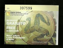 Biglietto Di Ingresso Beni Culturali E Ambientali E Identita Sicilia - Gratuito - Tickets - Entradas