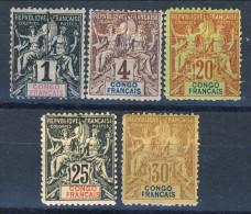 Congo 1900-04 Tipi Sage Piccolo Lotto Di 5 Francobolli (n. 12, 14, 18, 19, 20) MLH Catalogo € 108 - Unclassified
