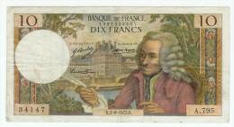 FRANCE 10 F VOLTAIRE 1/6/1972 PLIS D'USAGE 7 TROUS PAS DE DECHIRURE NI MANQUE  TTB+ - 10 F 1963-1973 ''Voltaire''