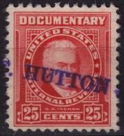 USA - U.S. Internal Revenue, Documentary -  Revenue Tax Stamp - USED - S D Ingham - Hutton - Revenues