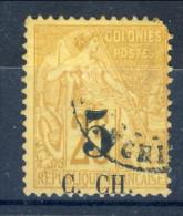 Cochinchine 1886-87 Tipi Colonie Del 1881 N 3 Sovrastampa B -5 Su C. 25 Giallo-bistro USATO Catalogo € 25 Dente Corto