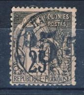 Cochinchine 1886-87 VARIETA' Tipi Delle Colonie Francesi 1881 N. 4 - C. 5 Su C 25 Nero Su Rosa USATO (vedi Descrizione)