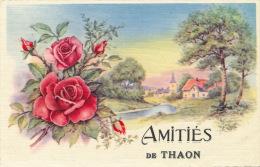 """THAON - Jolie Carte Fantaisie Fleurs """"Amitiés De THAON """" - Andere Gemeenten"""