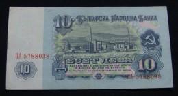 BULGARIA 10 LEVA 1974, XF. 7 NUMBERS IN SERIAL# OA 5788038. - Bulgaria