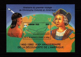 1992 Burkina Faso Columbus Discovery Souvenir Sheet MNH - Burkina Faso (1984-...)