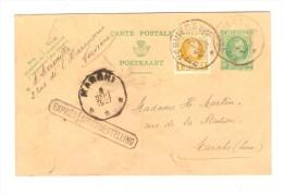 Entier CP 30 En Exprès+Griffe Bilingue  C Houyoux+TP Houyoux C.Verviers En 1927 V.Marche C.d'arrivée C.octogonal PR2602 - Stamped Stationery