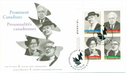 1997 Canada Prominent Canadians 45c Plate Block First Day Cover - 1991-2000