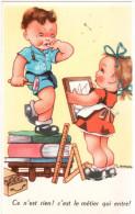 CPSM ENFANTS GARCON BRICOLEUR FILLETTE CE N EST RIEN C EST LE METIER QUI RENTRE DESSIN GOUGEON - Children's Drawings