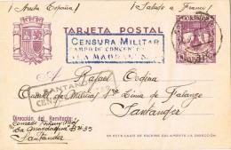 16423. Entero Postal SANTANDER 1938. Doble CENSURA Militar Campo Concentracion LA MAGDALENA - 1931-50 Briefe U. Dokumente