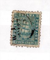 British Guiana 4c Blue Ship Fine Used 1866 SG91 X1230 - British Guiana (...-1966)