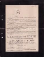 WARNANT Caroline De JACQUIER De ROSEE épouse Baron Léopold De BONHOME 28 Ans En 1905 Château De Moulins Doodsbrief - Décès