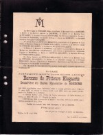 HAVERSIN Joséphine Baronne De PITTEURS HIEGAERTS Veuve Baron Hyacinthe De BONHOMME 1825-1898 Liège Ixelles - Décès