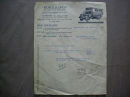LILLE NORD-RAPID TRANSPORTS DE TOUS COLIS PAR CAMIONS CAPITONNES ENTRE PARIS-LILLE 11 RUE EUGENE JACQUET FACTURE 24/7/39 - Transports
