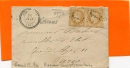 CERENCES Manche CAD Type 24 + Paire 10c Empire N° 28 + GC 4773 (bureau Complémentaire) ....G - Storia Postale