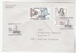 1989  SWEDEN COVER GRISSLEHAM SAILING SHIP EVENT Pmk Stamps - Ships