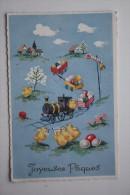 Heureuses Pâques - Jolie Cpa Gaufrée - Train  - Locomotive Wagon  - EASTER - Old Vintage Postcard - Easter