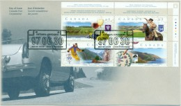 1997 Canada Highway Routes 45c Plate Block First Day Cover - 1991-2000