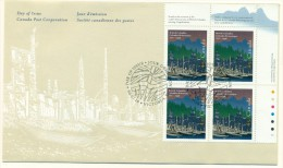 1996 Canada British Columbia 45c Plate Block First Day Cover - 1991-2000