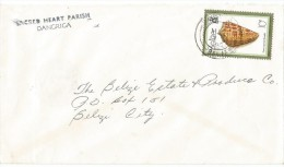 1980, BELIZE. SEASHELL, SACRED HEART PARISH COVER, DANGRICA TO BELIZE CITY. RELIGION. - Belize (1973-...)