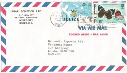 1976, BELIZE. BUTTERFLIES, MAP, CRICKET SLOGAN COVER, BELIZE CITY TO ENGLAND. - Belize (1973-...)