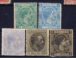 C+ Kuba 1877 1878 1880 1888 Mi 19 21 33 58 Alfons XII. - Cuba (1874-1898)