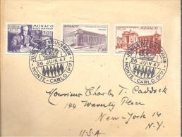 MONACO -- Enveloppe JUBILE Du SOUVEAIN 26 JUIN 1947 Pour NEW-YORK - Cartas