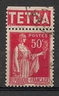 Timbre à Bande Publicitaire Type Paix III 50c Rouge N° 283. Pub Publicité Réclame - Advertising