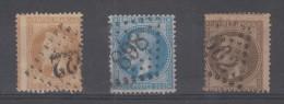 FRANCE - 28 + 30 (varietée De Piquage) + 29 (anneau Lune) Obli - 1863-1870 Napoleone III Con Gli Allori