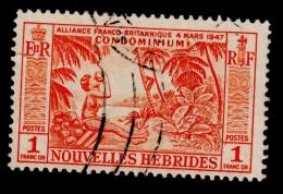 NEW HEBRIDES NOUVELLES HEBRIDES 1957 1F Definitive SG F104 - Very Fine Used VFU - 1B284 - French Legend