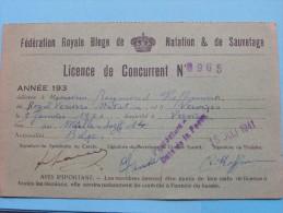 Licence De CONCURRENT N° 8965 - Anno 1941 Verviers Féd. Royale Belge De Natation Et De Sauvetage ( Zie Foto´s ) ! - Swimming