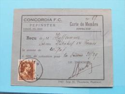 CONCORDIA F.C. PEPINSTER Carte De Membre N° 37 - Anno 1938/39 Réçu De Mr. Hoffsummer ( Zie Foto´s ) ! - Voetbal