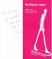 Voeux Autographes 2009 De Fadela Amara, Secrétaire D´État à La Ville + Enveloppe Avec EMA Paris Bonvin CTC Paris Sud - Autogramme & Autographen