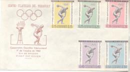 COOPERACION DEPORTIVA INTERNACIONAL OCTUBRE DE 1962 FDC PARAGUAY JUEGOS OLIMPICOS AMSTERDAM 1928 LOS ANGELES 1932 BERLIN