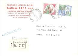 RACCOMANDATA FORNACE LATERIZI OLEGGIO NOVARA ANN.BELLINZAGO NOVARESEL - 6. 1946-.. Repubblica