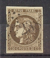 N° 47 BORDEAUX 30c OBLITERE GC 2387 MONACO TTB SIGNE CALVES - 1870 Emission De Bordeaux