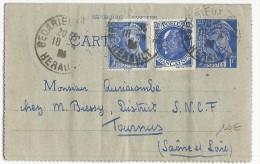 HERAULT - 1942 - CARTE LETTRE ENTIER MERCURE De BEDARIEUX POUR TOURNUS - PETAIN - Biglietto Postale