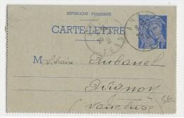GERS - 1941 - CARTE LETTRE ENTIER MERCURE De AUCH POUR AVIGNON