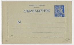 1940 - CARTE LETTRE ENTIER MERCURE NEUVE - Biglietto Postale
