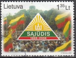 Lietuva 2008 Michel 972 O Cote (2013) 1.00 Euro 20 Ans Sajudis Cachet Rond - Lituanie