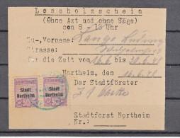 Leseholzschein Ohne Axt Und Säge, Stadtforst Northeim, Erlaubnis Dokument Mit Gebührenmarken, 1948 - Alte Papiere